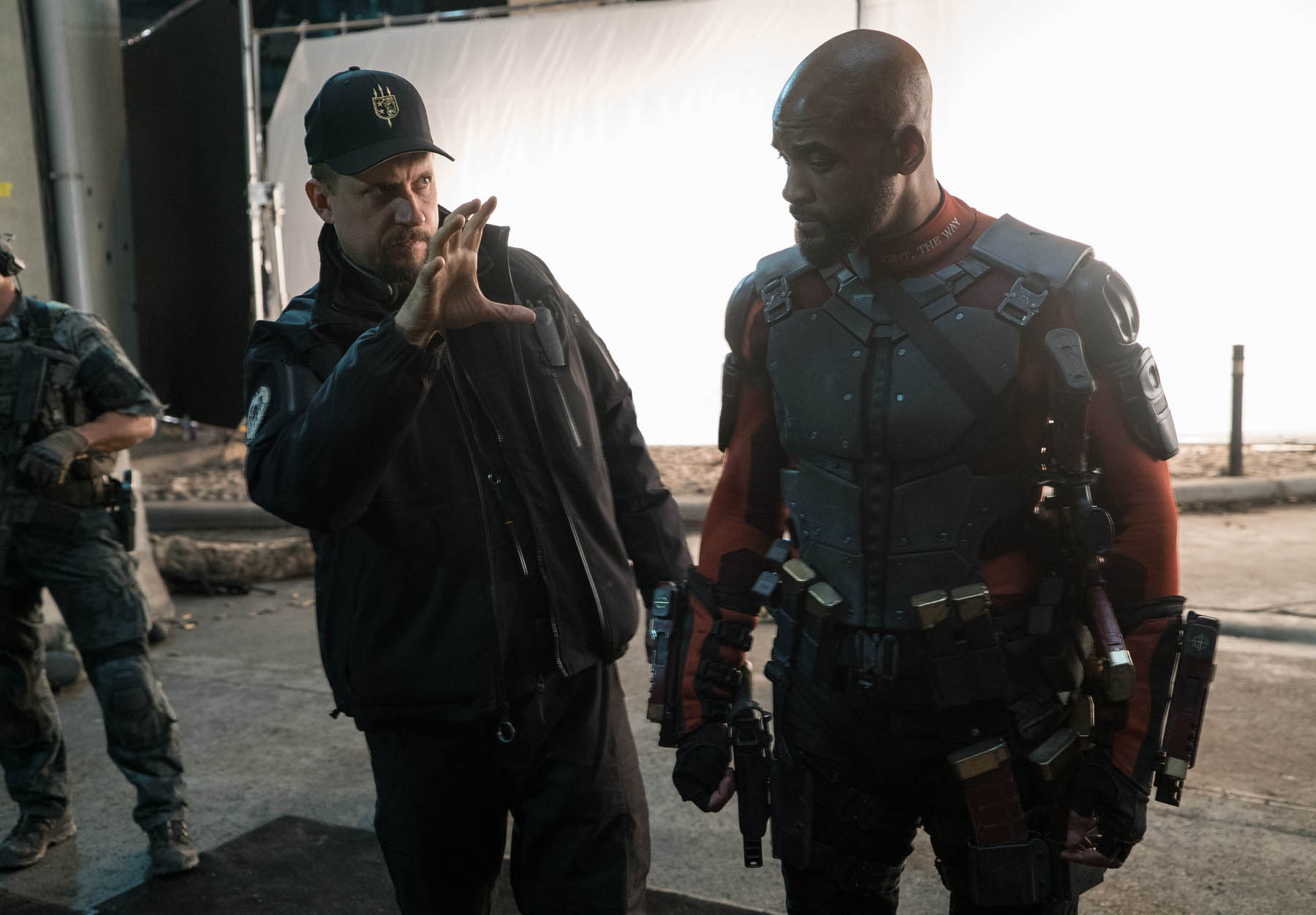 David Ayer and Will Smith on the set of Suicide Squad