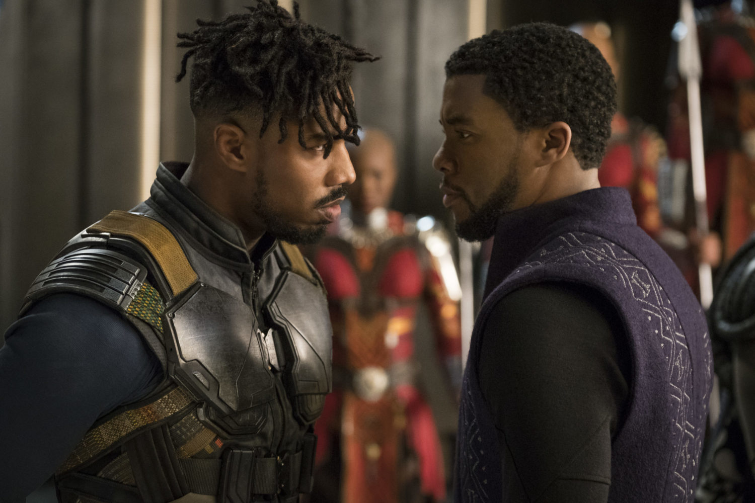 Erik Killmonger (Michael B. Jordan) and T'Challa/Black Panther (Chadwick Boseman) in Black Panther