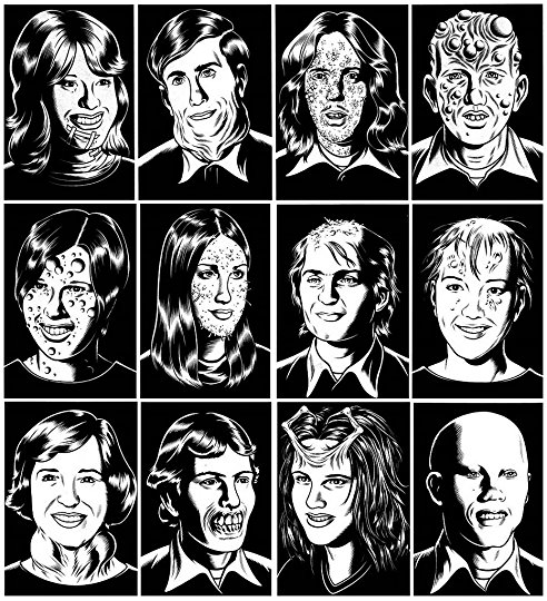 Some of the artwork from Charles Burns' Black Hole