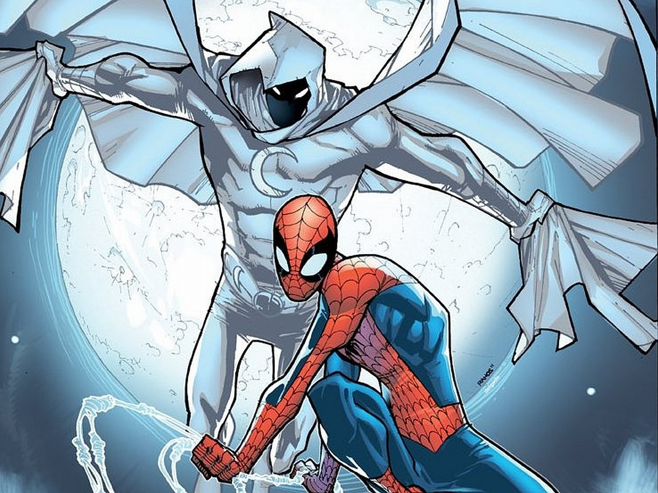 Moon Knight crossing paths with Spider-Man