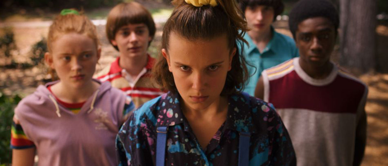 Eleven and her friends in Stranger Things