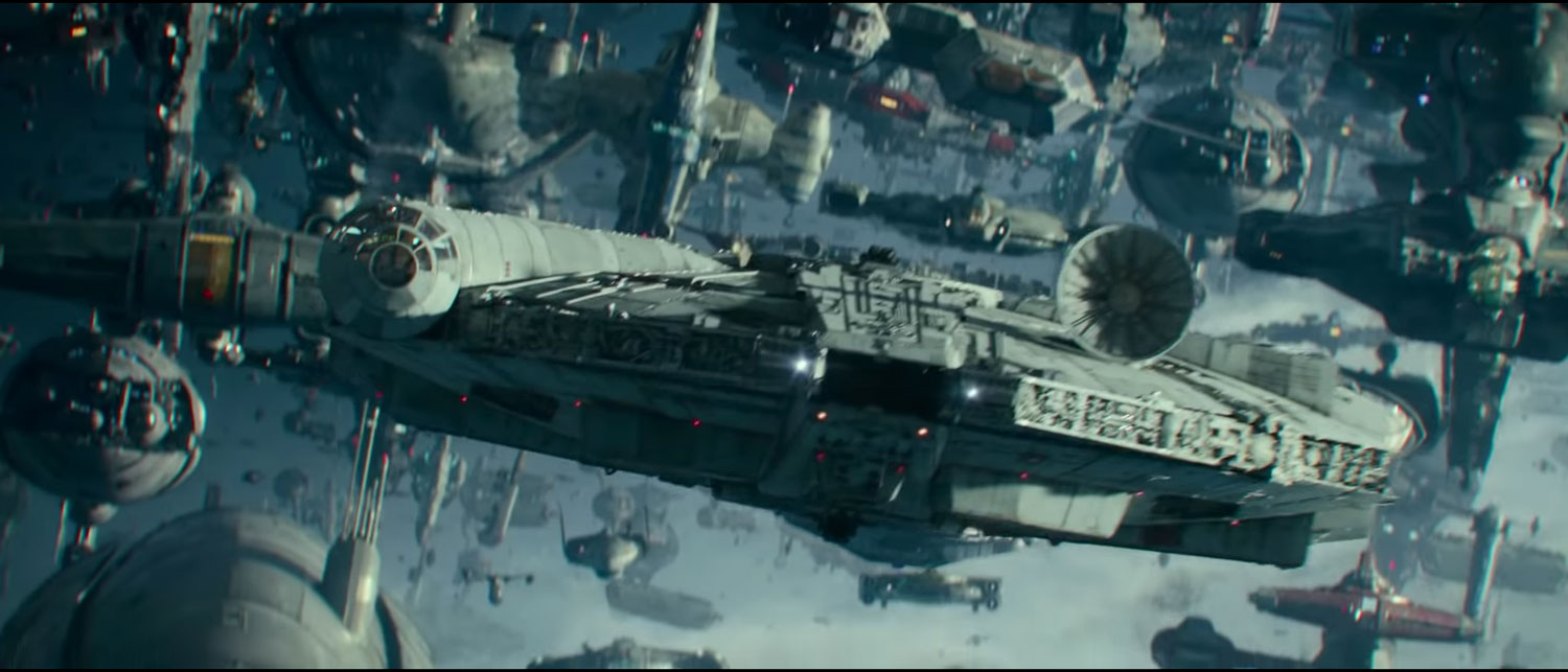 The Millennium Falcon in the Star Wars: The Rise Of Skywalker