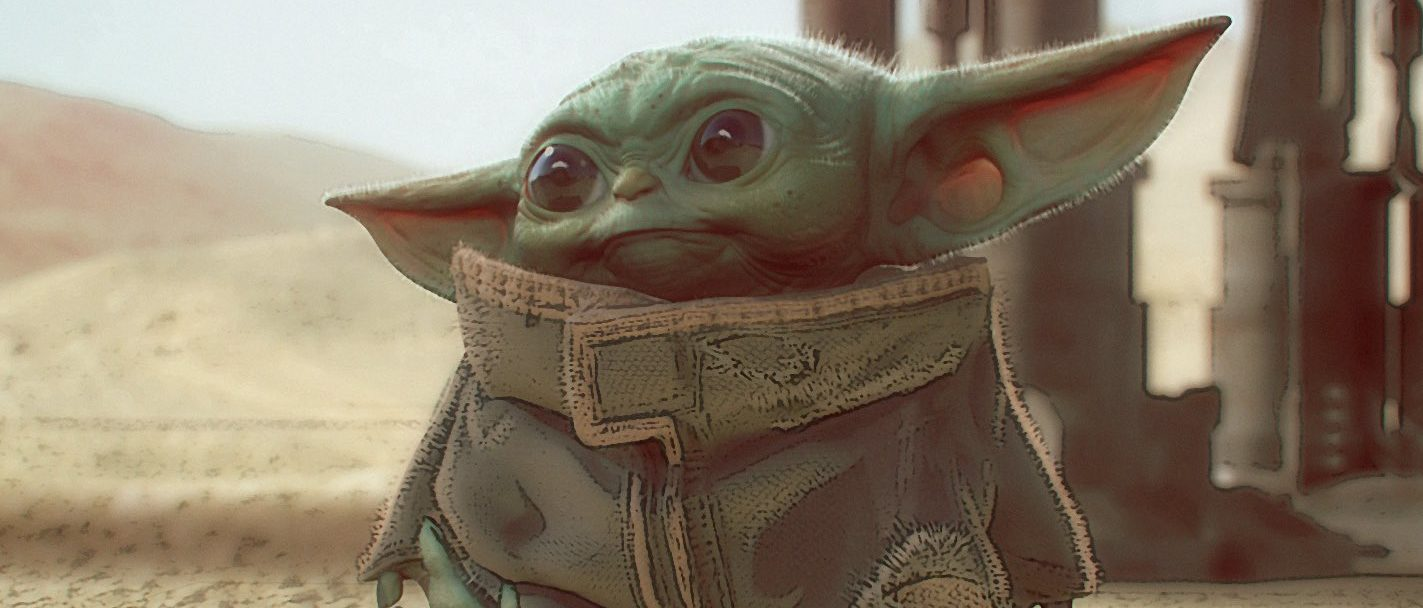 Here is some concept art of Baby Yoda in The Mandalorian