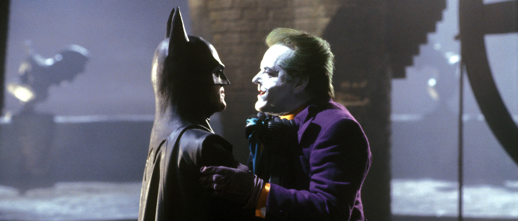 Michael Keaton's Batman and Jack Nicholson's Joker in Tim Burton's Batman