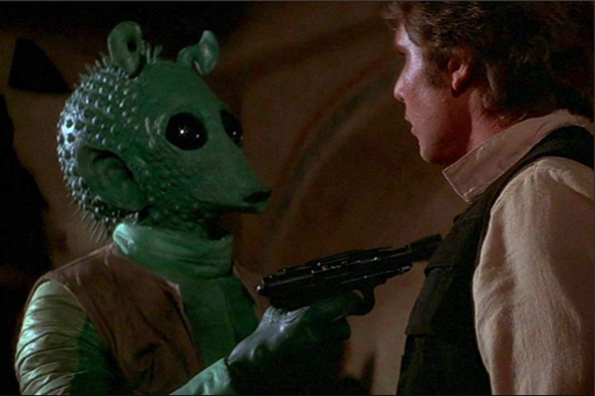 Greedo and Han Solo in Star Wars: A New Hope