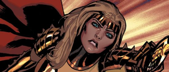 First Look At Angelina Jolie In Costume As Thena In The Eternals
