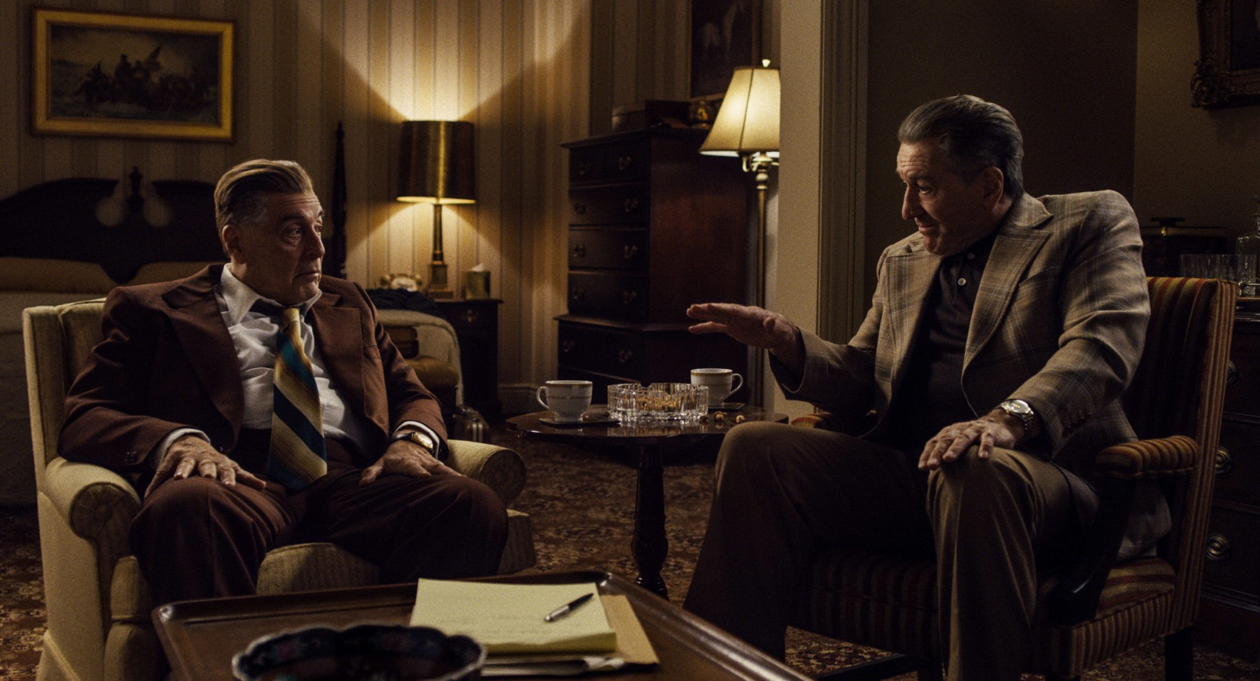 Jimmy Hoffa (Al Pacino) and Frank Sheeran (Robert De Niro) debate Hoffa's next move The Irishman