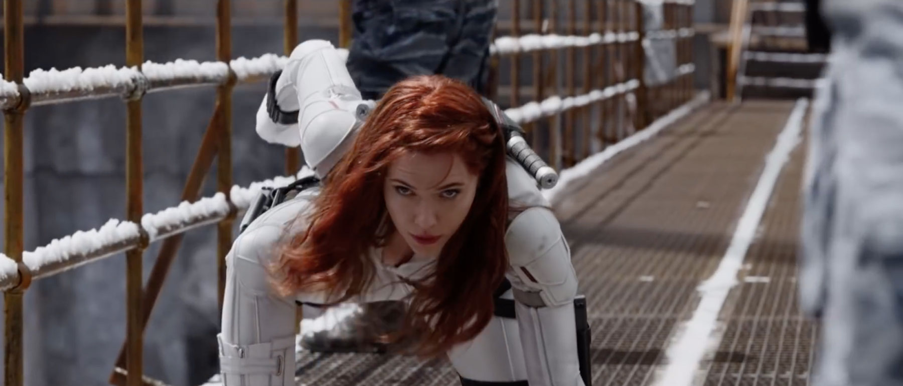 Scarlett Johansson as Black Widow in the film's first trailer