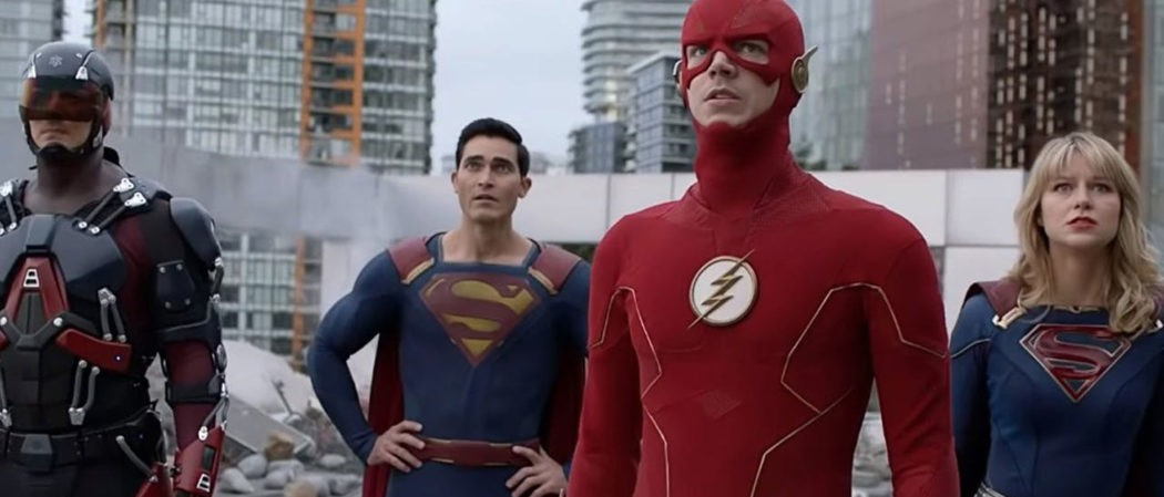 Superman, The Flash and Supergirl in Crisis On Infinite Earths