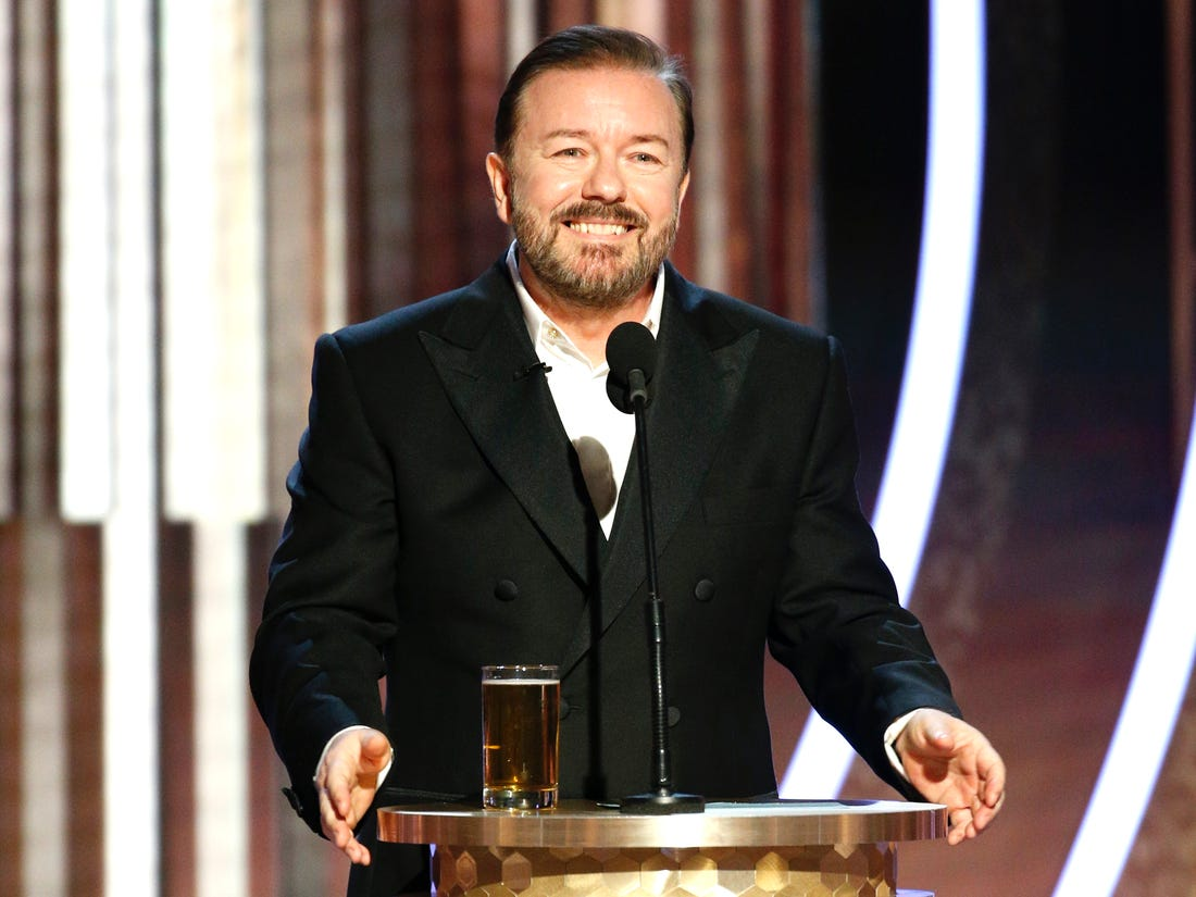 Ricky Gervais delivering his opening monologue at 2020's Golden Globes