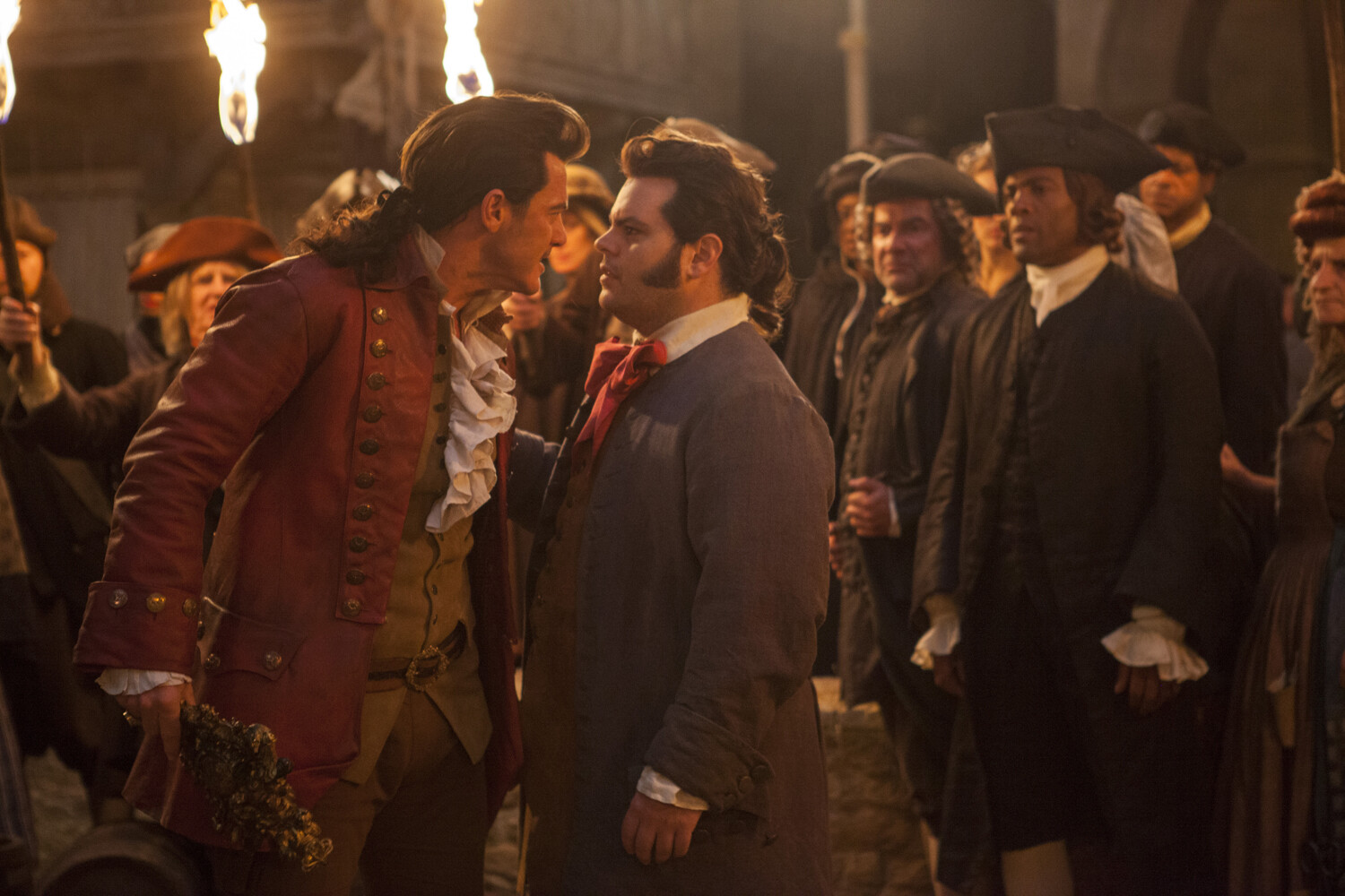 Luke Evans is Gaston and Josh Gad is LeFou, in Disney's BEAUTY AND THE BEAST, a live-action adaptation of the studio's animated classic, directed by Bill Condon gay characters