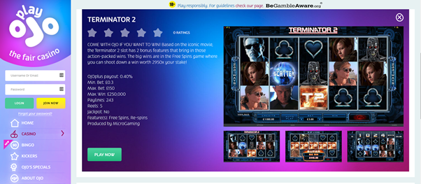 online casino games terminator action films