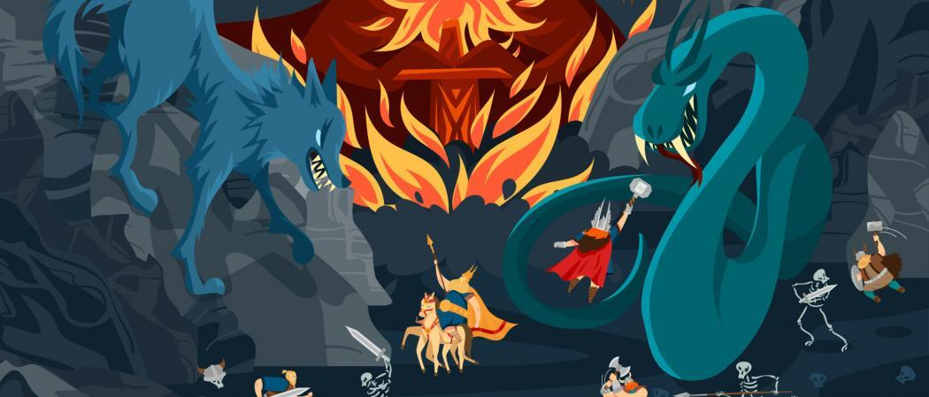 Viking,Gods,,Norse,Mythology,People,And,Monsters,Cartoon,Characters,,Fight